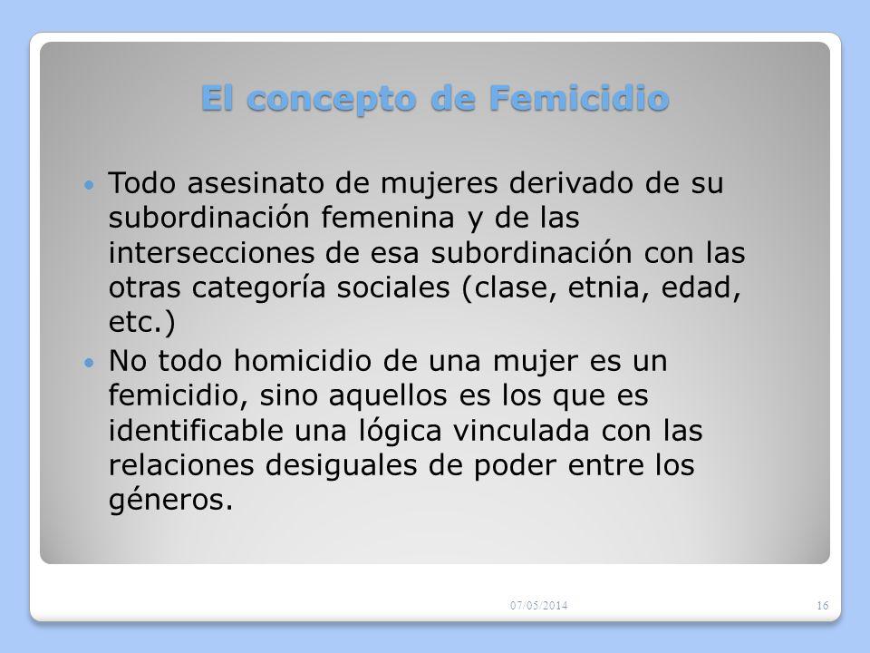 Escenarios del Femicidio Para comprender la complejidad de relaciones y el contexto en el que se desarrollan los femicidios, en Centroamérica se ha desarrollado el concepto de «escenarios del femicidio» ( Carcedo y otras, 2010).