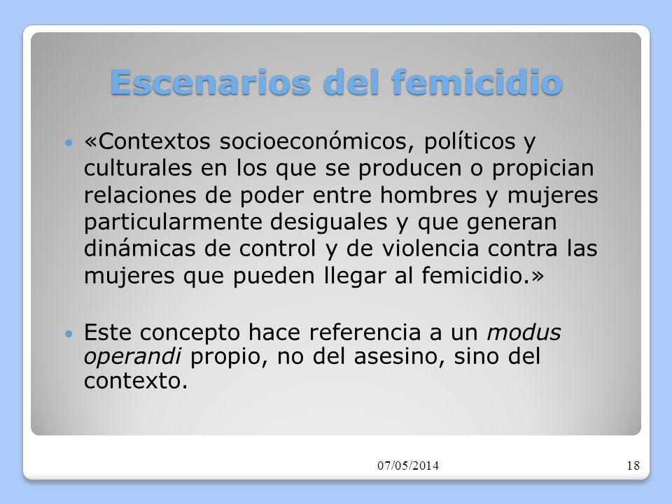Escenarios del femicidio La violencia contra las mujeres puede ocurrir en cualquier contexto, sin embargo, en aquellos contextos que llamamos «escenarios» la probabilidad de que la violencia llegue a su forma extrema está incrementada por circunstancias que aumentan la desigualdad de poder entre hombres y mujeres.
