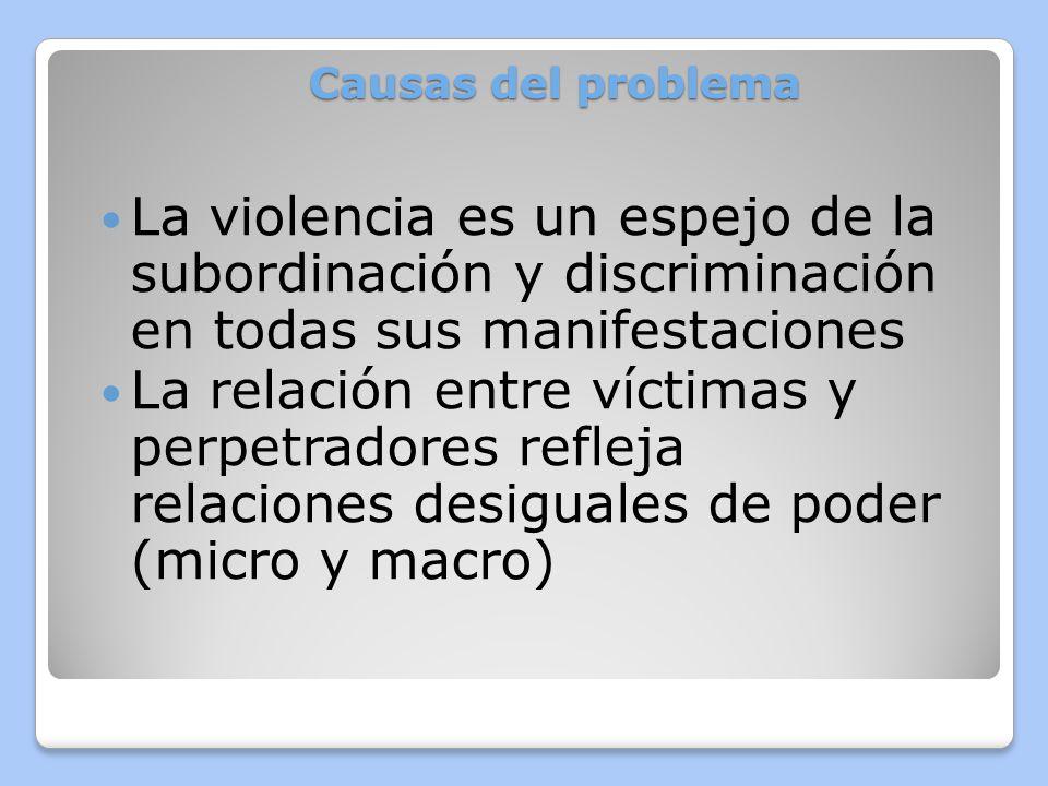 Causas del problema La permisividad social de la dominación masculina conduce a prácticas cotidianas de violencia sistemática contra las mujeres.