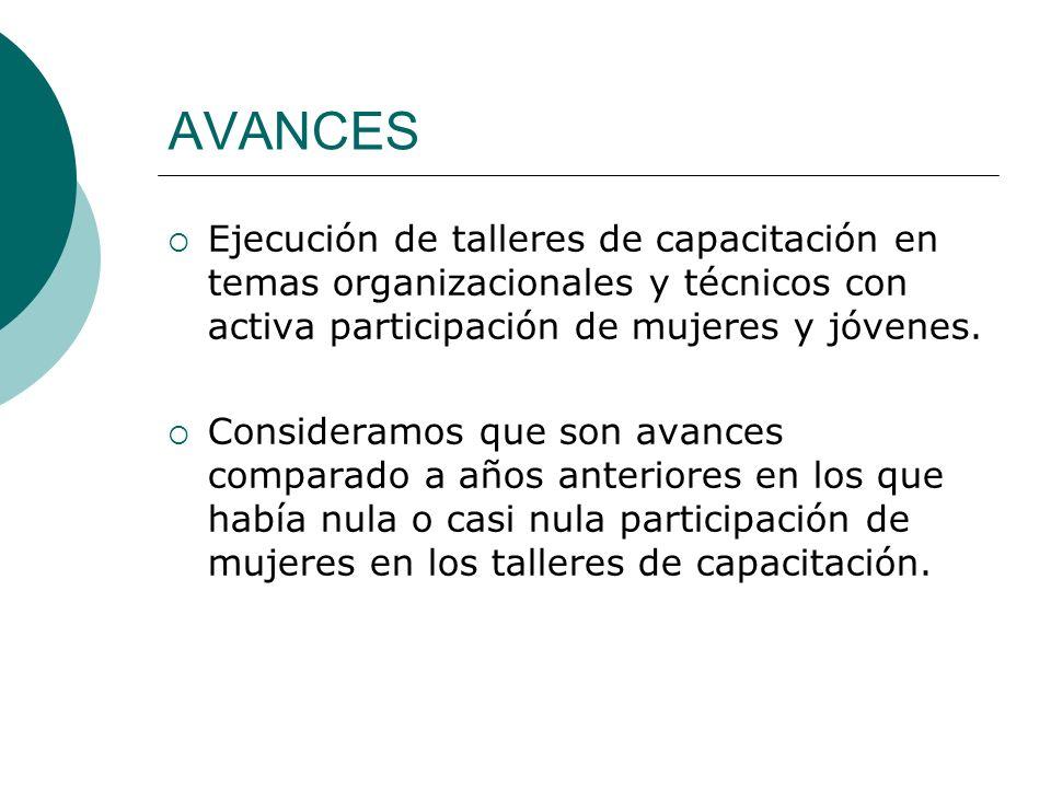 Ejecución de talleres de capacitación en temas organizacionales y técnicos con activa participación de mujeres y jóvenes.