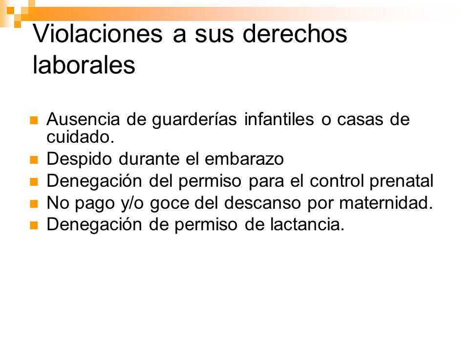 Ausencia de guarderías infantiles o casas de cuidado. Despido durante el embarazo Denegación del permiso para el control prenatal No pago y/o goce del