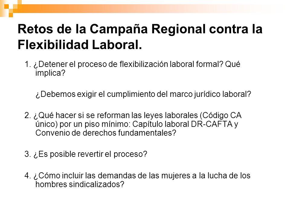 Retos de la Campaña Regional contra la Flexibilidad Laboral. 1. ¿Detener el proceso de flexibilización laboral formal? Qué implica? ¿Debemos exigir el