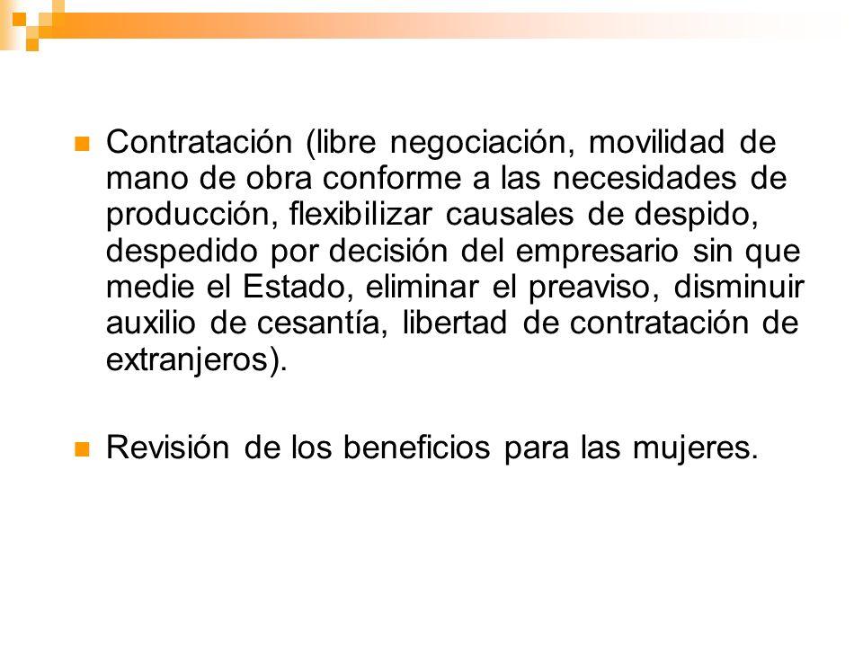 Contratación (libre negociación, movilidad de mano de obra conforme a las necesidades de producción, flexibilizar causales de despido, despedido por d