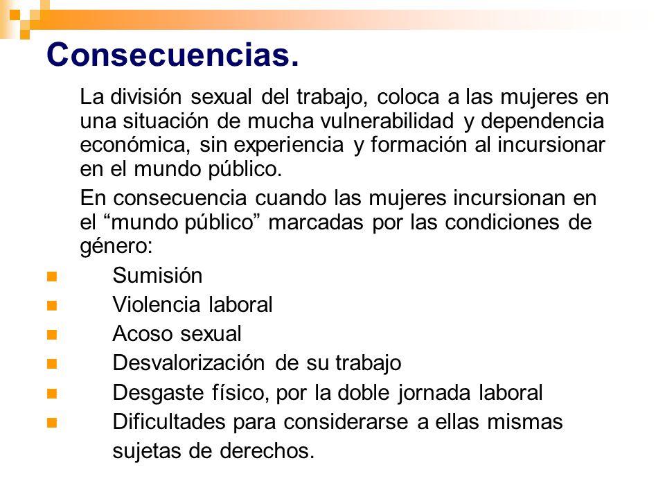 La división sexual del trabajo, coloca a las mujeres en una situación de mucha vulnerabilidad y dependencia económica, sin experiencia y formación al