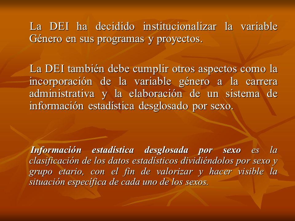 La DEI ha decidido institucionalizar la variable Género en sus programas y proyectos. La DEI ha decidido institucionalizar la variable Género en sus p