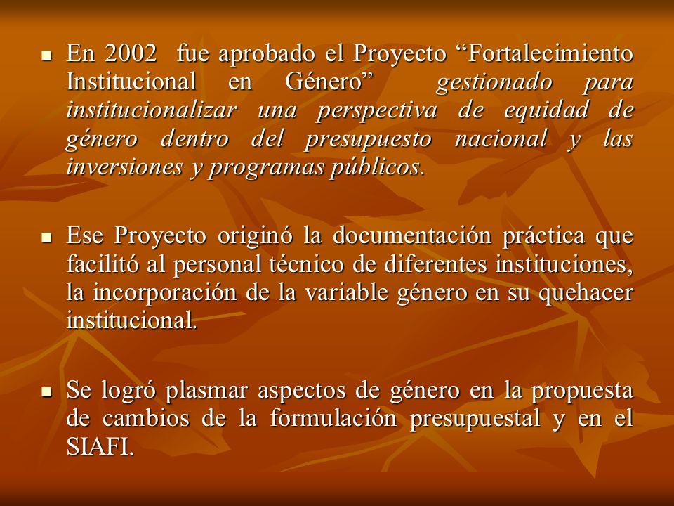 En 2002 fue aprobado el Proyecto Fortalecimiento Institucional en Género gestionado para institucionalizar una perspectiva de equidad de género dentro
