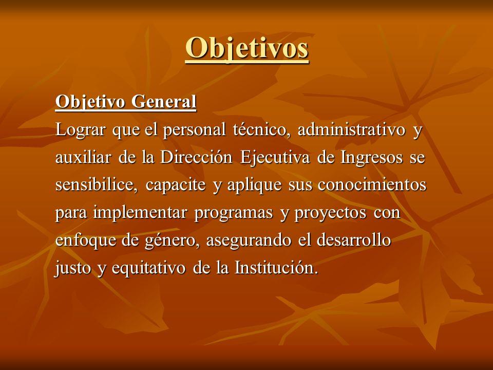 Objetivos Objetivo General Lograr que el personal técnico, administrativo y auxiliar de la Dirección Ejecutiva de Ingresos se sensibilice, capacite y