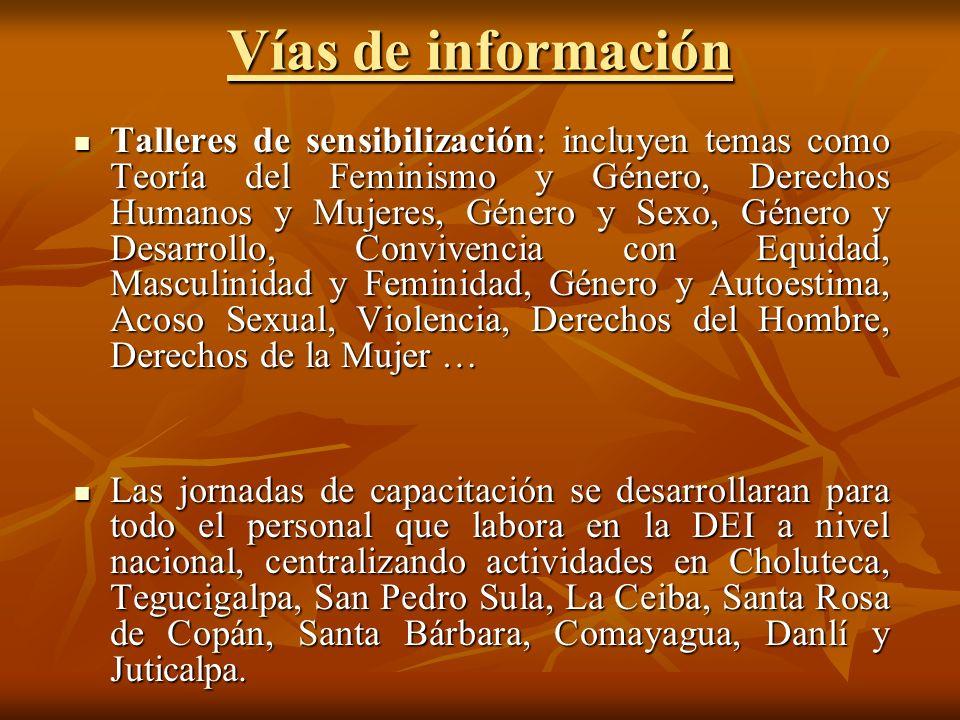Vías de información Talleres de sensibilización: incluyen temas como Teoría del Feminismo y Género, Derechos Humanos y Mujeres, Género y Sexo, Género