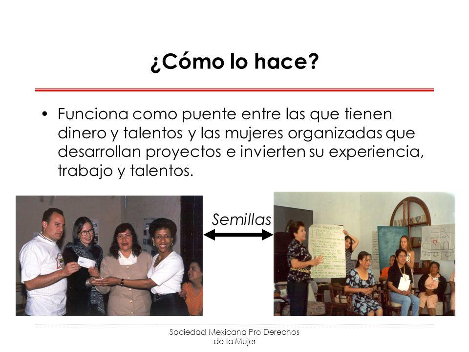 Sociedad Mexicana Pro Derechos de la Mujer ¿Cómo lo hace? Funciona como puente entre las que tienen dinero y talentos y las mujeres organizadas que de
