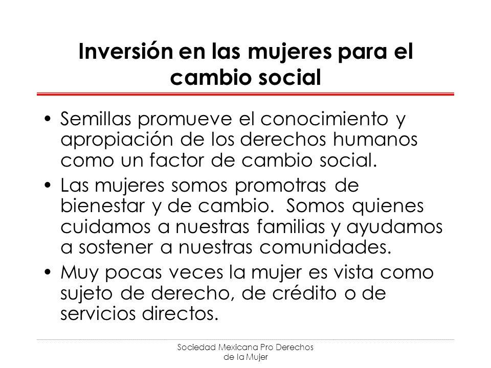 Sociedad Mexicana Pro Derechos de la Mujer Inversión en las mujeres para el cambio social Semillas promueve el conocimiento y apropiación de los derechos humanos como un factor de cambio social.