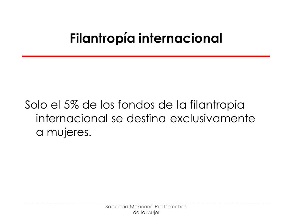 Sociedad Mexicana Pro Derechos de la Mujer Filantropía internacional Solo el 5% de los fondos de la filantropía internacional se destina exclusivamente a mujeres.