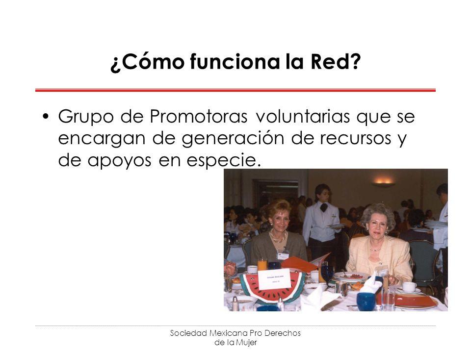 Sociedad Mexicana Pro Derechos de la Mujer ¿Cómo funciona la Red? Grupo de Promotoras voluntarias que se encargan de generación de recursos y de apoyo