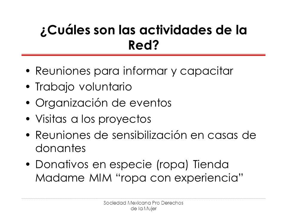 Sociedad Mexicana Pro Derechos de la Mujer ¿Cuáles son las actividades de la Red? Reuniones para informar y capacitar Trabajo voluntario Organización