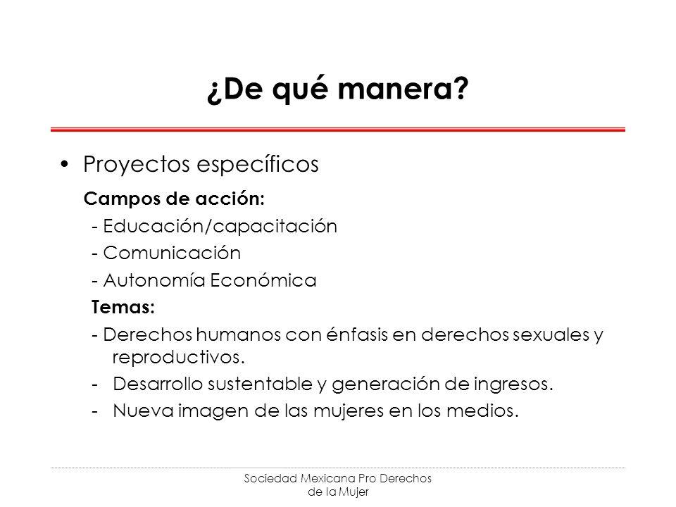 Sociedad Mexicana Pro Derechos de la Mujer ¿De qué manera? Proyectos específicos Campos de acción: - Educación/capacitación - Comunicación - Autonomía