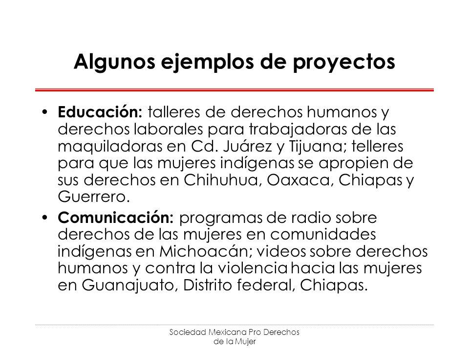 Sociedad Mexicana Pro Derechos de la Mujer Algunos ejemplos de proyectos Educación: talleres de derechos humanos y derechos laborales para trabajadoras de las maquiladoras en Cd.
