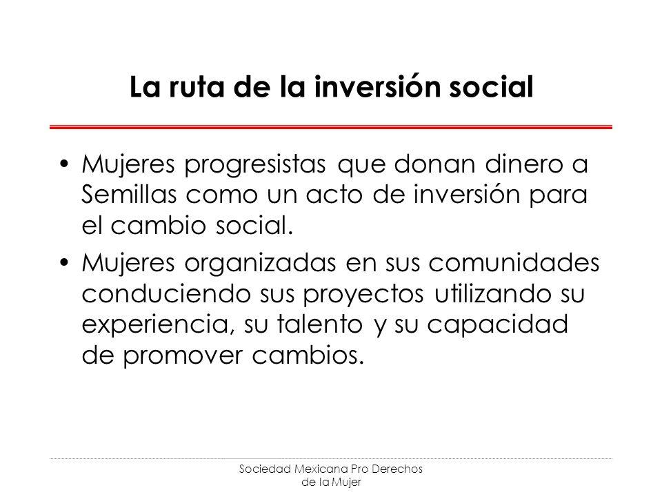 Sociedad Mexicana Pro Derechos de la Mujer La ruta de la inversión social Mujeres progresistas que donan dinero a Semillas como un acto de inversión para el cambio social.
