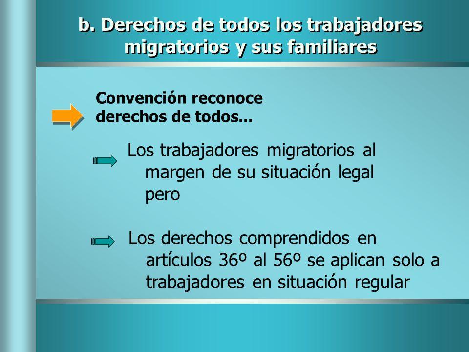 Convención reconoce derechos de todos... Los trabajadores migratorios al margen de su situación legal pero Los derechos comprendidos en artículos 36º
