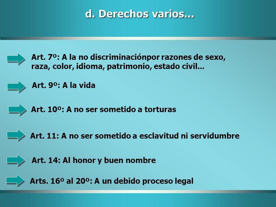 d. Derechos varios... Art. 7º: A la no discriminaciónpor razones de sexo, raza, color, idioma, patrimonio, estado civil... Art. 9º: A la vida Art. 10º