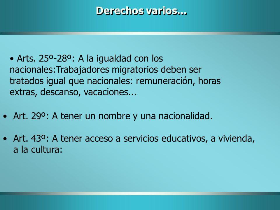 Art. 29º: A tener un nombre y una nacionalidad. Art. 43º: A tener acceso a servicios educativos, a vivienda, a la cultura: Derechos varios... Arts. 25