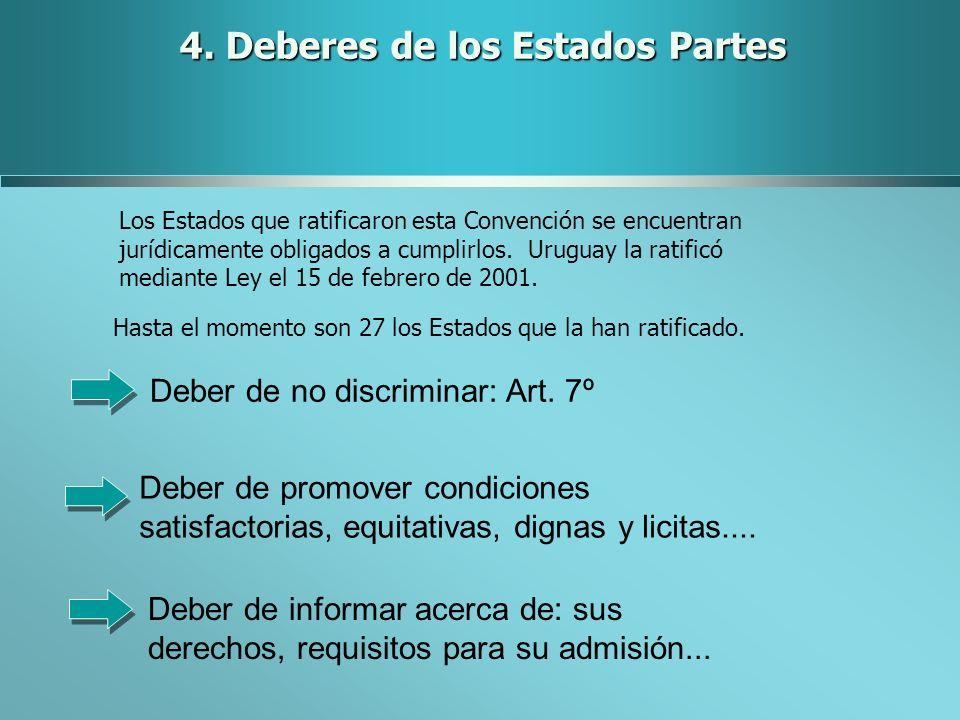 4. Deberes de los Estados Partes Los Estados que ratificaron esta Convención se encuentran jurídicamente obligados a cumplirlos. Uruguay la ratificó m