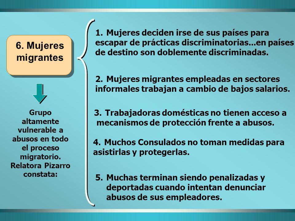 6. Mujeres migrantes Grupo altamente vulnerable a abusos en todo el proceso migratorio. Relatora Pizarro constata: 5.Muchas terminan siendo penalizada