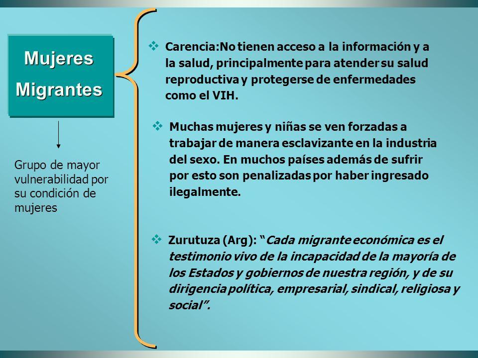 Mujeres Migrantes Grupo de mayor vulnerabilidad por su condición de mujeres Carencia:No tienen acceso a la información y a la salud, principalmente pa