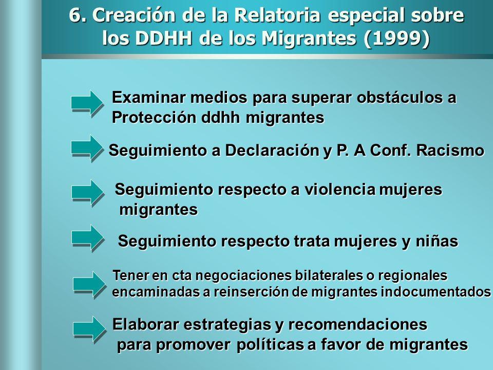 6. Creación de la Relatoria especial sobre los DDHH de los Migrantes (1999) Examinar medios para superar obstáculos a Protección ddhh migrantes Seguim