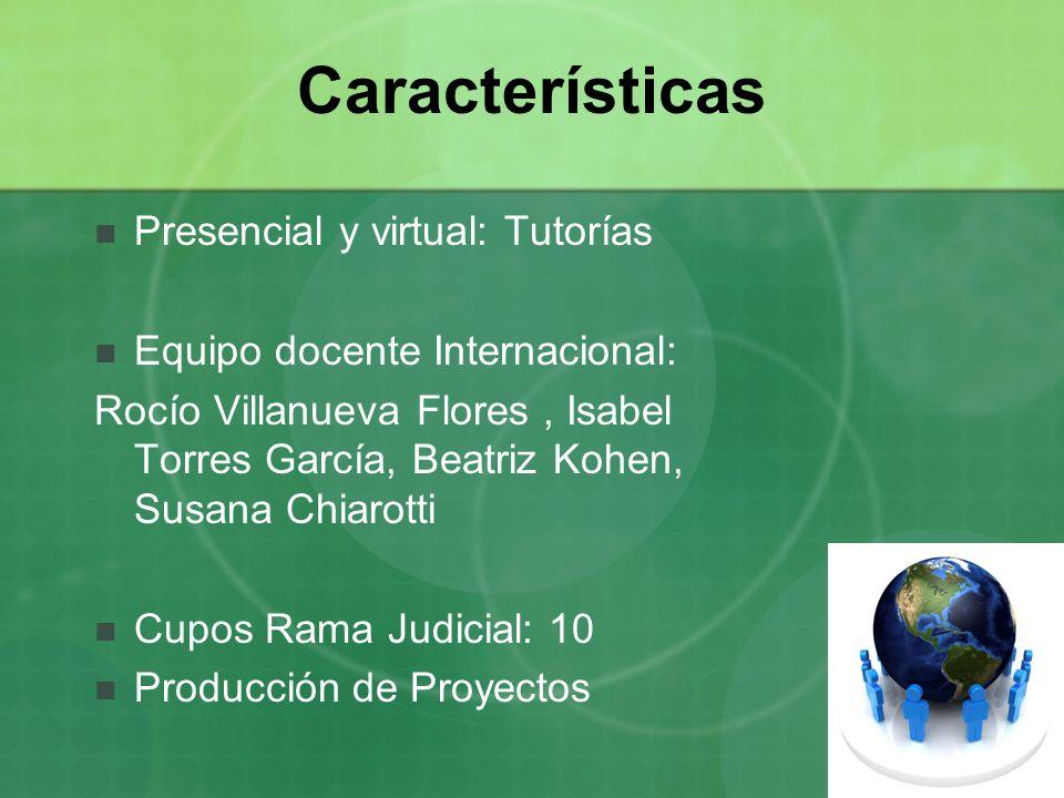 Características Presencial y virtual: Tutorías Equipo docente Internacional: Rocío Villanueva Flores, Isabel Torres García, Beatriz Kohen, Susana Chia