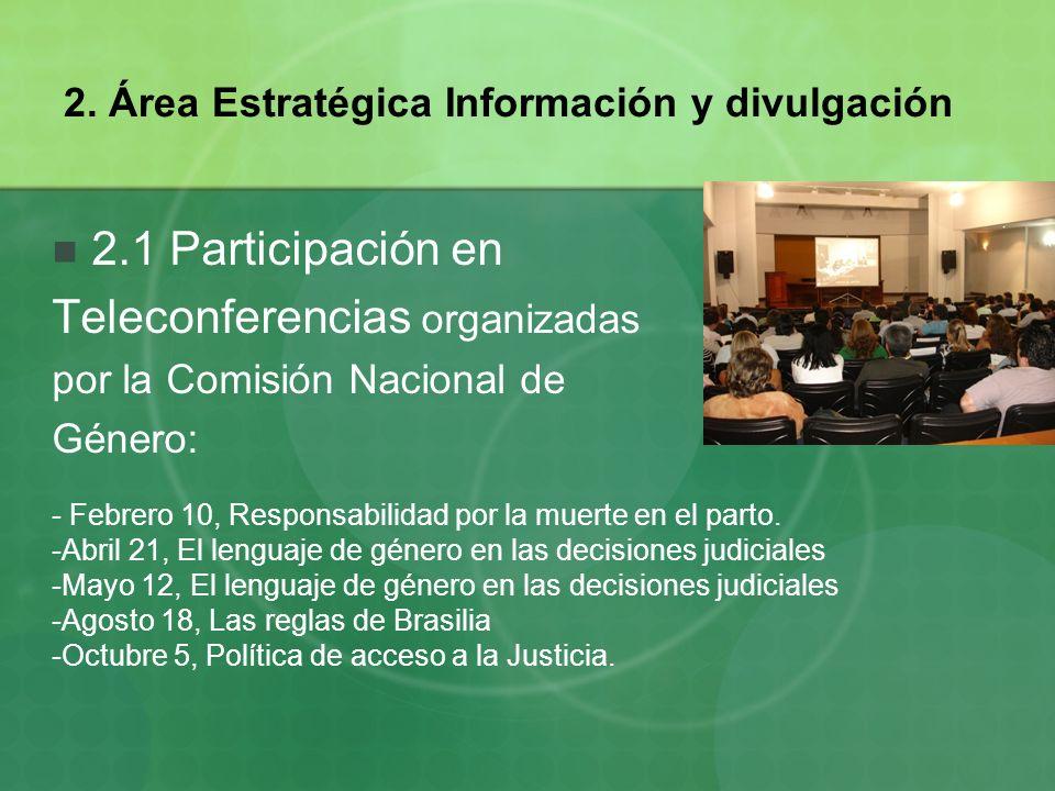 2. Área Estratégica Información y divulgación 2.1 Participación en Teleconferencias organizadas por la Comisión Nacional de Género: - Febrero 10, Resp