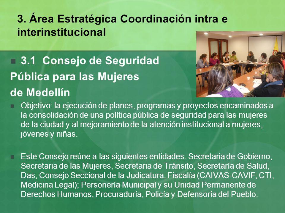 3. Área Estratégica Coordinación intra e interinstitucional 3.1 Consejo de Seguridad Pública para las Mujeres de Medellín Objetivo: la ejecución de pl