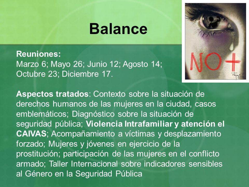 Balance Reuniones: Marzo 6; Mayo 26; Junio 12; Agosto 14; Octubre 23; Diciembre 17. Aspectos tratados: Contexto sobre la situación de derechos humanos