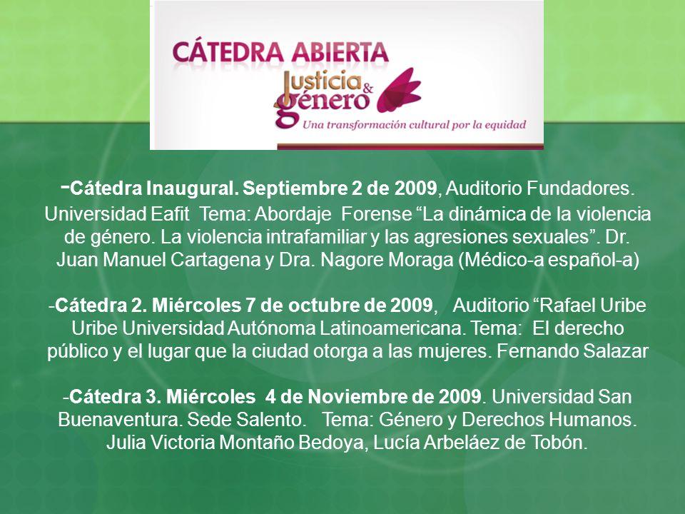 - Cátedra Inaugural. Septiembre 2 de 2009, Auditorio Fundadores. Universidad Eafit Tema: Abordaje Forense La dinámica de la violencia de género. La vi