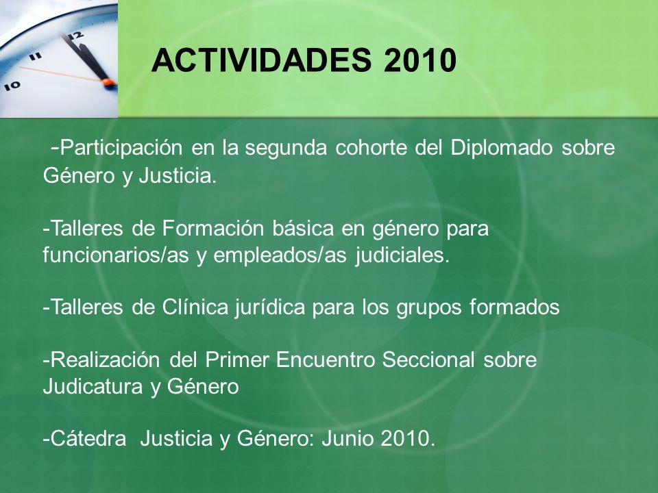 - Participación en la segunda cohorte del Diplomado sobre Género y Justicia. -Talleres de Formación básica en género para funcionarios/as y empleados/