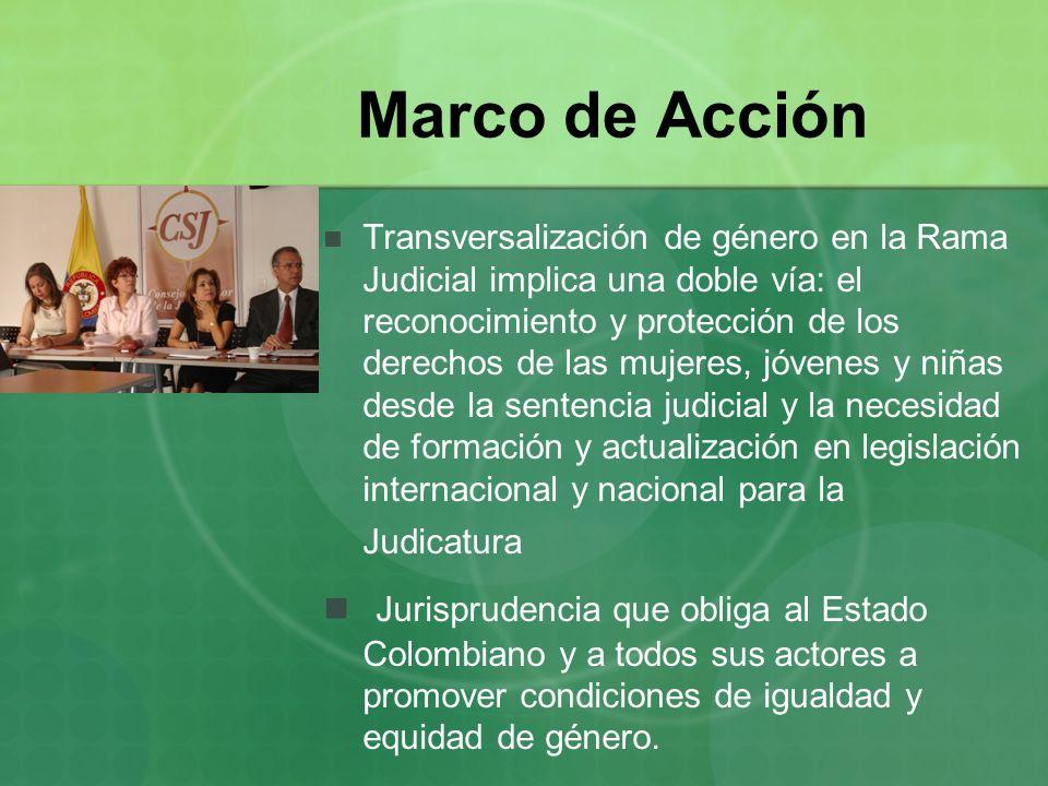 Marco de Acción Transversalización de género en la Rama Judicial implica una doble vía: el reconocimiento y protección de los derechos de las mujeres,