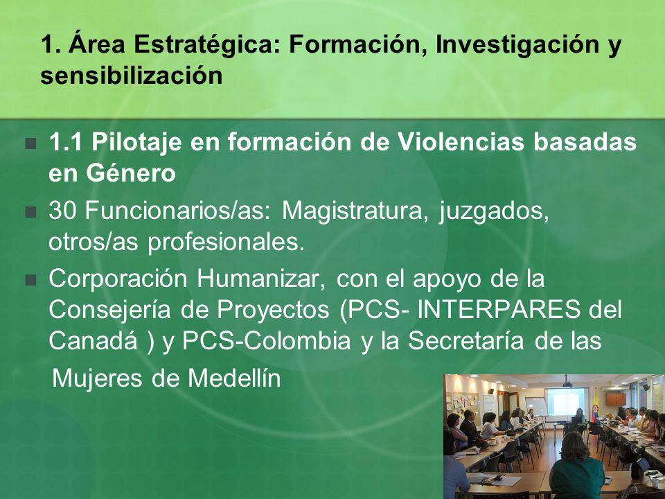 1. Área Estratégica: Formación, Investigación y sensibilización 1.1 Pilotaje en formación de Violencias basadas en Género 30 Funcionarios/as: Magistra