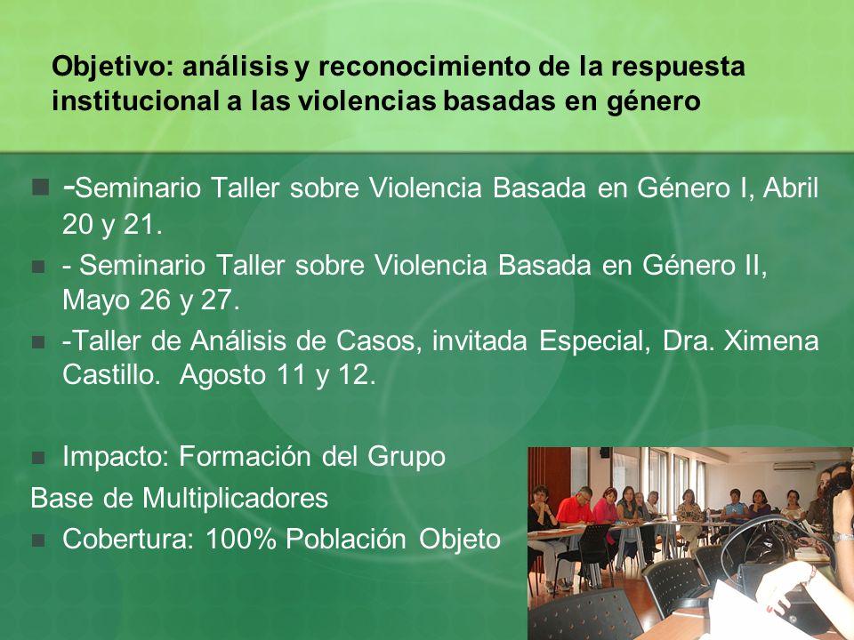 Objetivo: análisis y reconocimiento de la respuesta institucional a las violencias basadas en género - Seminario Taller sobre Violencia Basada en Géne