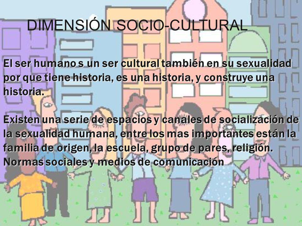 El ser humano s un ser cultural también en su sexualidad por que tiene historia, es una historia, y construye una historia. Existen una serie de espac