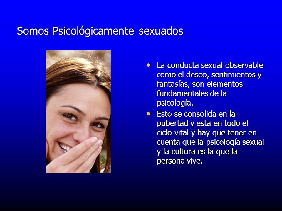 Somos Psicológicamente sexuados La conducta sexual observable como el deseo, sentimientos y fantasías, son elementos fundamentales de la psicología. L