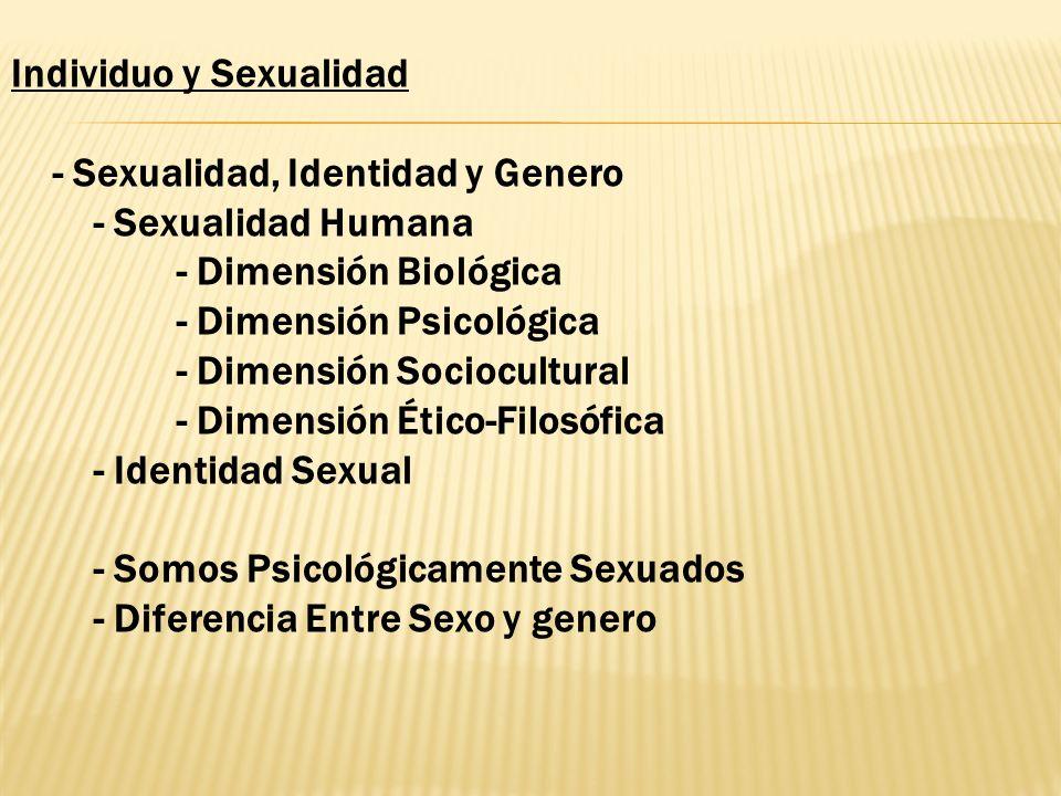 Individuo y Sexualidad - Sexualidad, Identidad y Genero - Sexualidad Humana - Dimensión Biológica - Dimensión Psicológica - Dimensión Sociocultural -