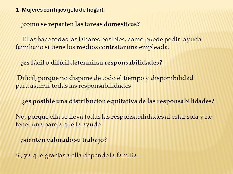 1- Mujeres con hijos (jefa de hogar): ¿como se reparten las tareas domesticas? Ellas hace todas las labores posibles, como puede pedir ayuda familiar