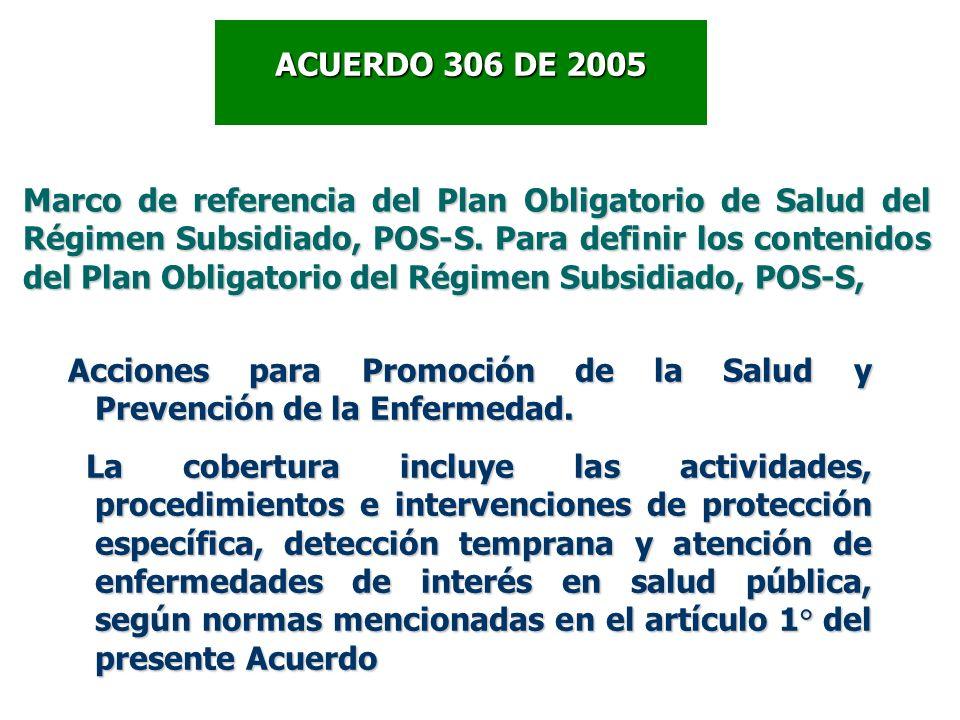 Marco de referencia del Plan Obligatorio de Salud del Régimen Subsidiado, POS-S. Para definir los contenidos del Plan Obligatorio del Régimen Subsidia