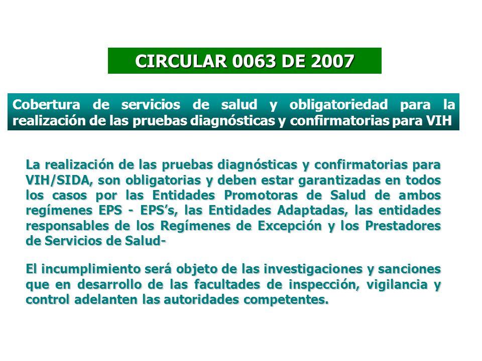 CIRCULAR 0063 DE 2007 La realización de las pruebas diagnósticas y confirmatorias para VIH/SIDA, son obligatorias y deben estar garantizadas en todos