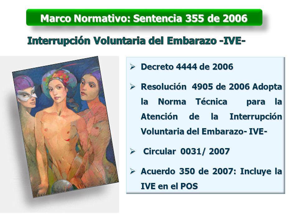 Decreto 4444 de 2006 Decreto 4444 de 2006 Resolución 4905 de 2006 Adopta la Norma Técnica para la Atención de la Interrupción Voluntaria del Embarazo-