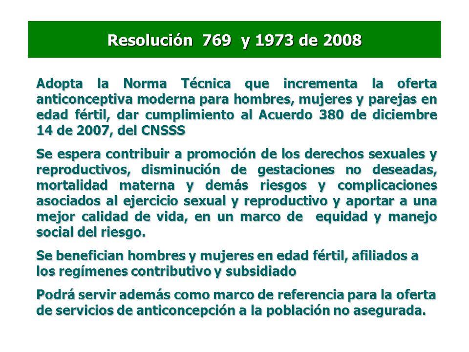 Resolución 769 y 1973 de 2008 Adopta la Norma Técnica que incrementa la oferta anticonceptiva moderna para hombres, mujeres y parejas en edad fértil,