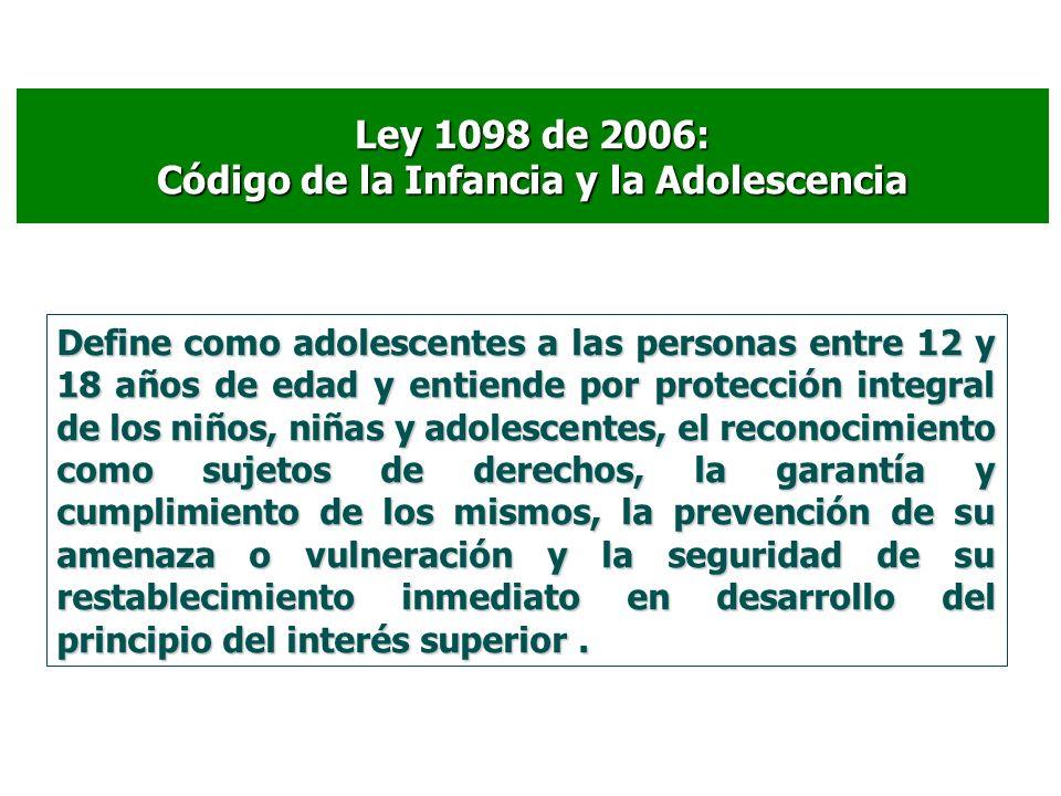 Ley 1098 de 2006: Código de la Infancia y la Adolescencia Define como adolescentes a las personas entre 12 y 18 años de edad y entiende por protección