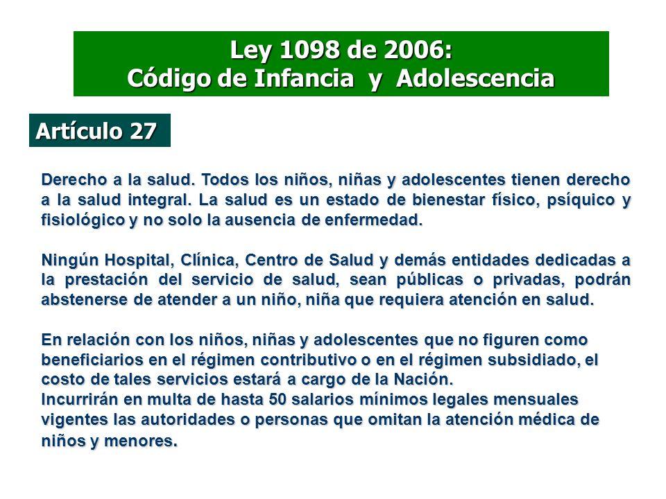 Artículo 27 Derecho a la salud. Todos los niños, niñas y adolescentes tienen derecho a la salud integral. La salud es un estado de bienestar físico, p