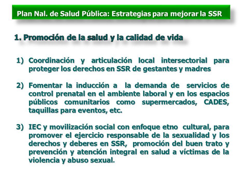 1)Coordinación y articulación local intersectorial para proteger los derechos en SSR de gestantes y madres 2)Fomentar la inducción a la demanda de ser