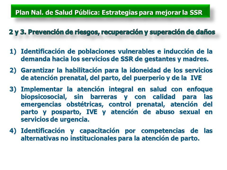 1)Identificación de poblaciones vulnerables e inducción de la demanda hacia los servicios de SSR de gestantes y madres. 2)Garantizar la habilitación p