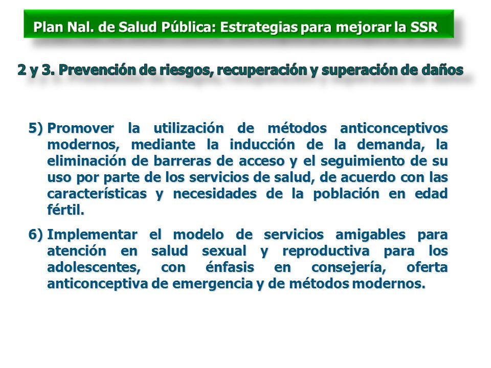 5)Promover la utilización de métodos anticonceptivos modernos, mediante la inducción de la demanda, la eliminación de barreras de acceso y el seguimie