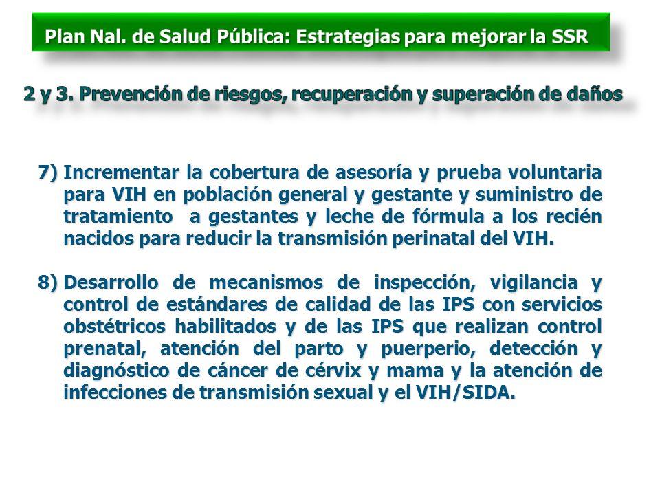 7)Incrementar la cobertura de asesoría y prueba voluntaria para VIH en población general y gestante y suministro de tratamiento a gestantes y leche de